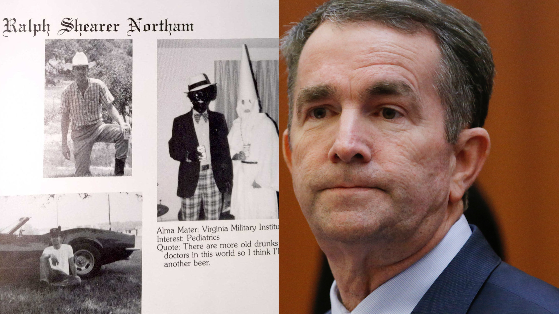 Gov. Ralph Northam admits he was in 1984 yearbook photo showing figures in blackface, KKK hood
