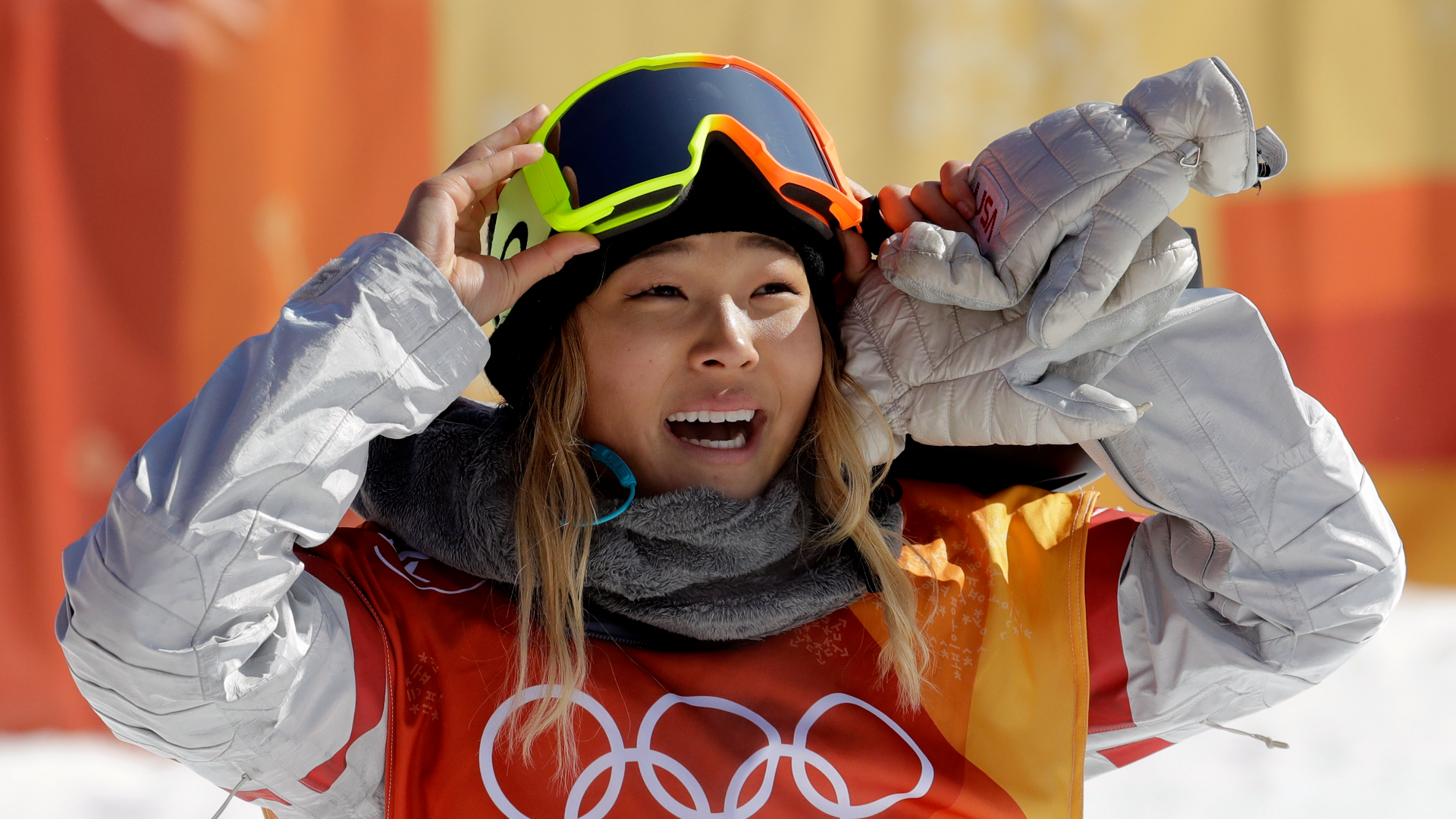 Chloe Kim's 'buddy' Arielle Gold joined her on the halfpipe podium, as bronze medalist