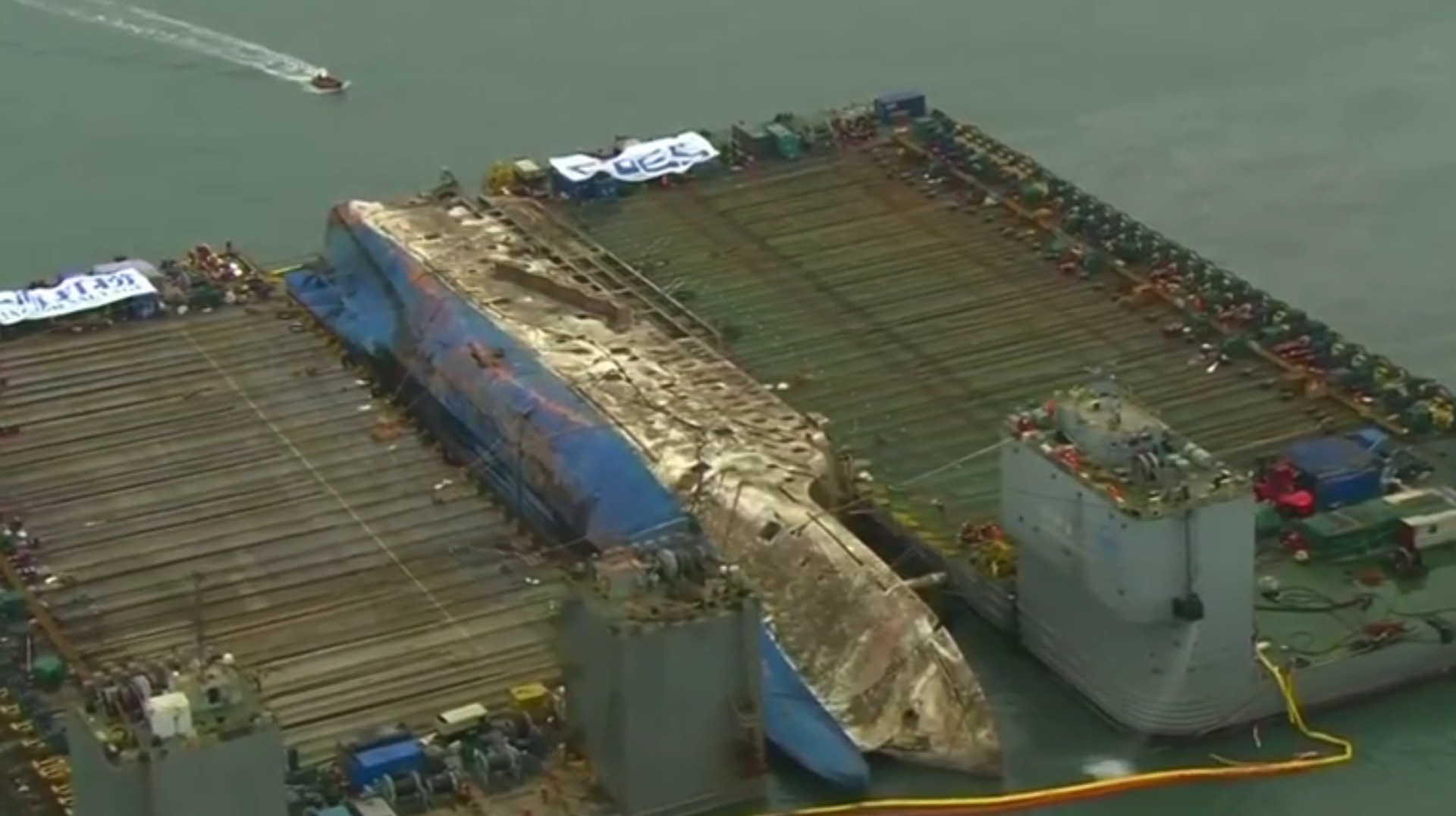 South Korea starts lifting Sewol ferry, almost three years after disaster