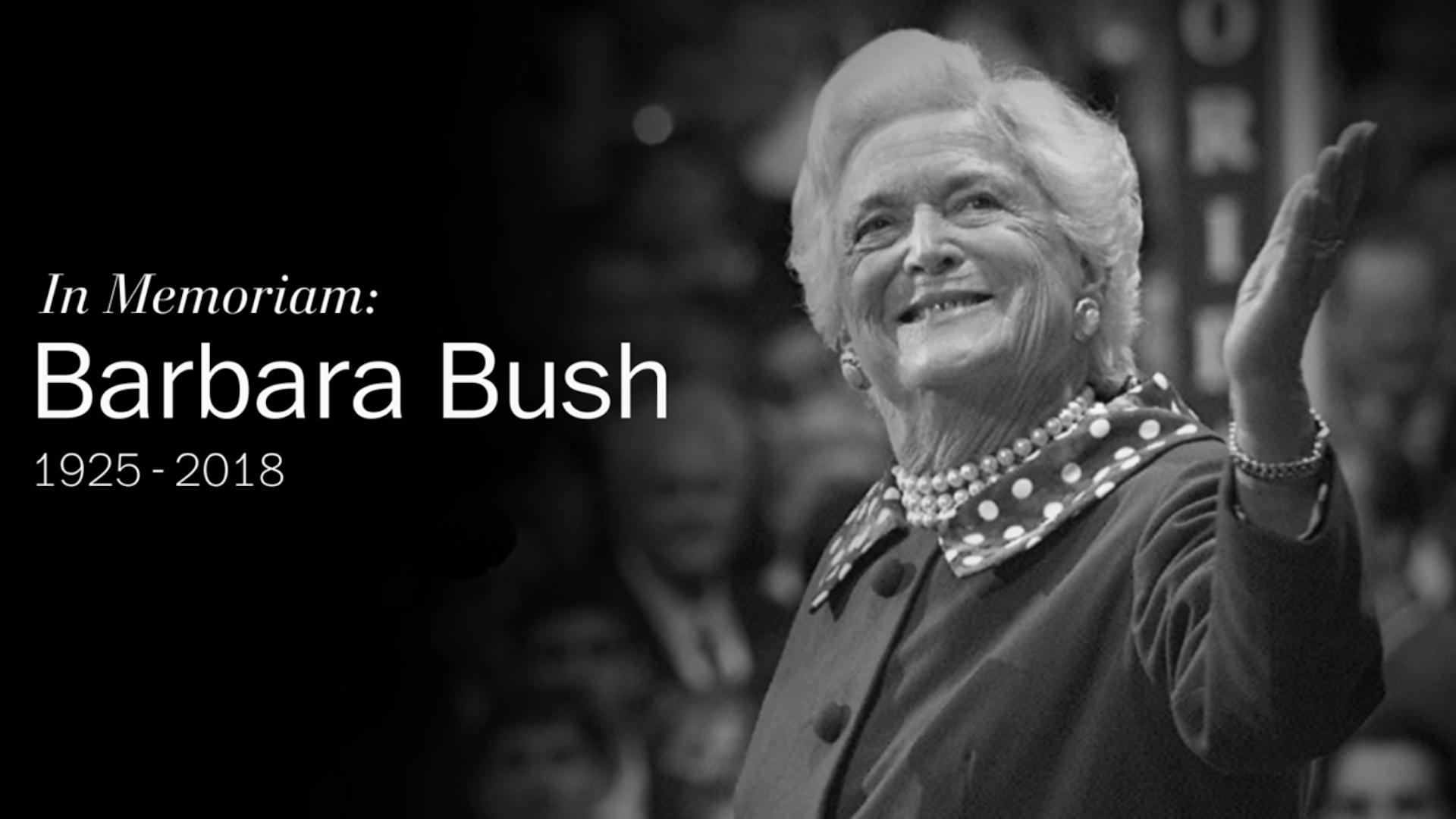 Barbara Bush, matriarch of American political dynasty, dies at 92