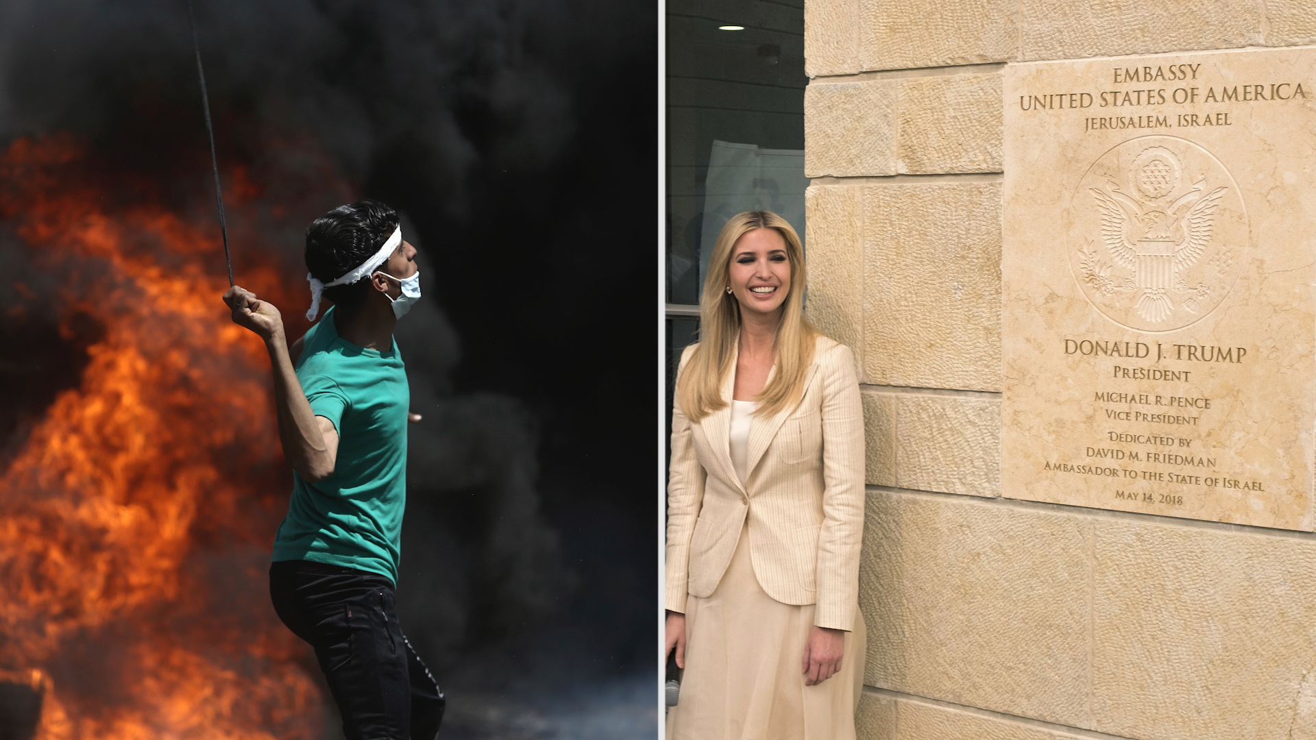 Under banner of peace, U.S. opens embassy in Jerusalem. Sixty miles away, dozens of Palestinians are killed.