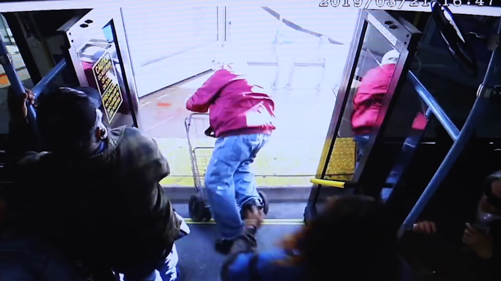 Video shows a 74-year-old pushed off a bus. Police have charged a woman with murder.