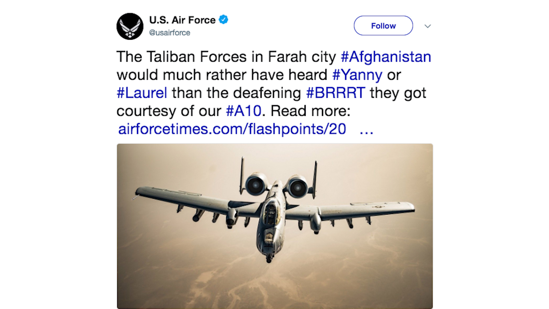 Air Force Tweets Joke About Deadly Battle In Afghanistan