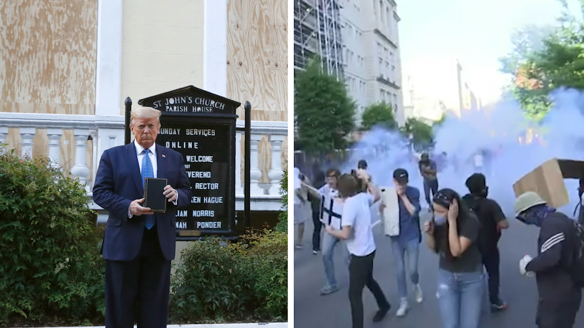 Episcopal Priests Stand Outside St. John's Church in DC Giving Out Bottled Water and Praying with Protesters One Day After Trump Had Peaceful Protesters Dispersed with Tear Gas and Used Historic Church for Bizarre Photo-op