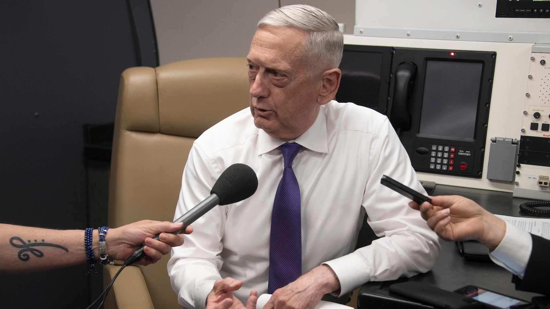A low-profile Mattis makes no mention of Trump as he tours Europe