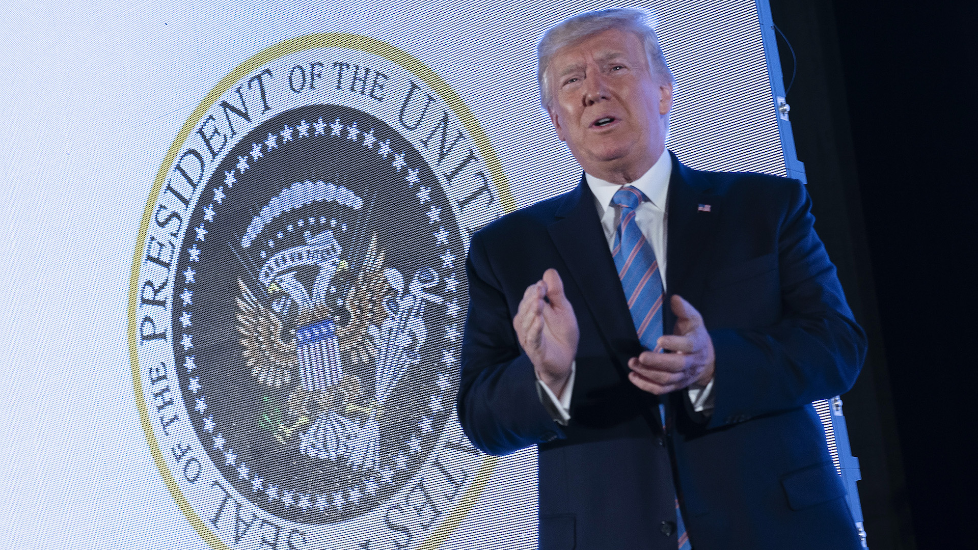 How Trump ended up in front of a presidential seal doctored to include a Russian symbol