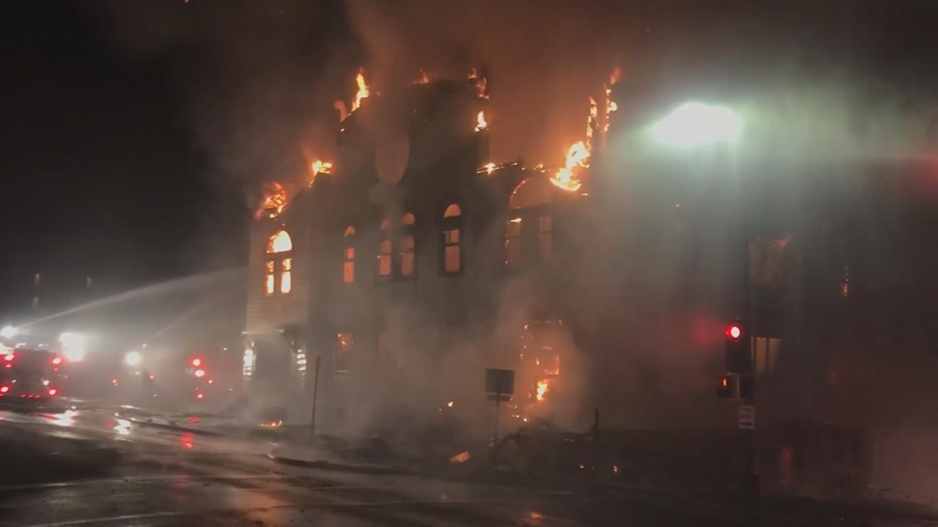 A 117-year-old synagogue burned to the ground. Police say they've charged a man with arson.