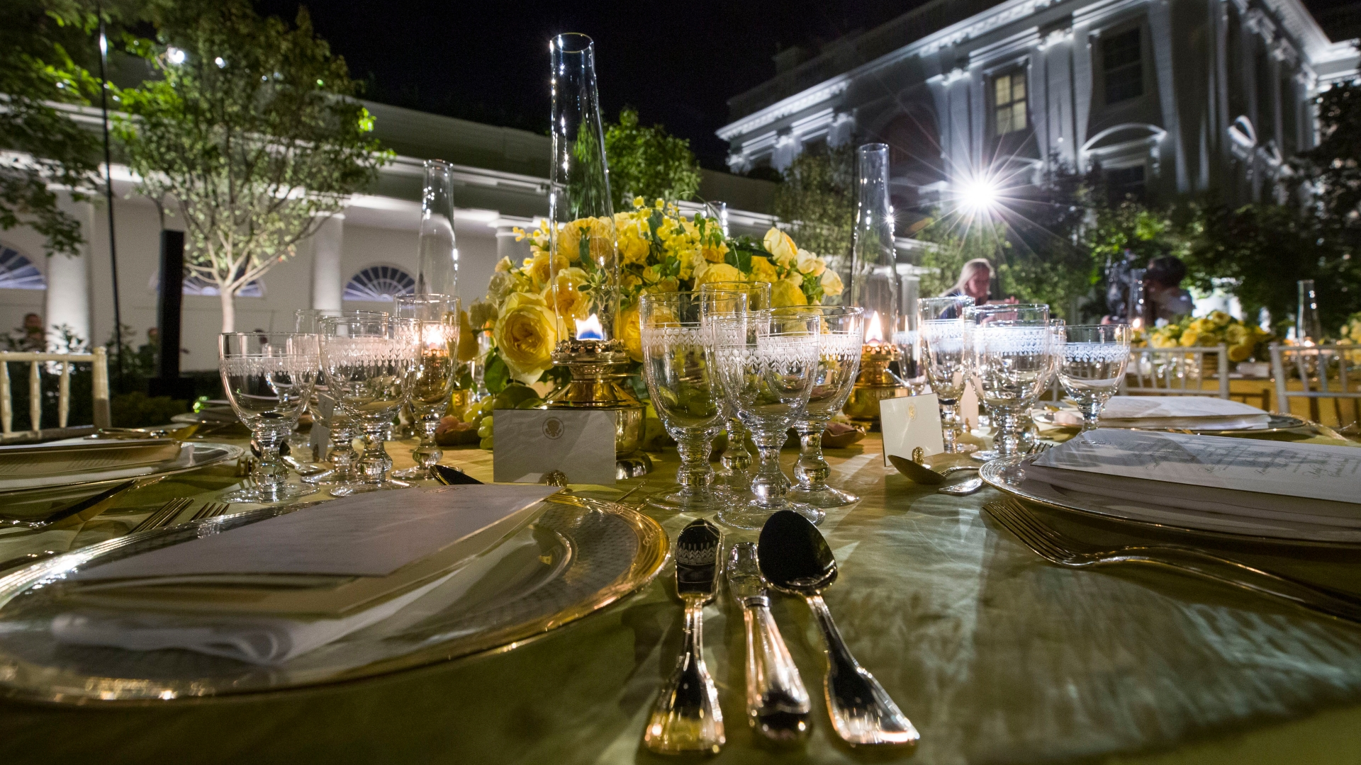 At the Trumps' second state dinner, a garden party under the stars