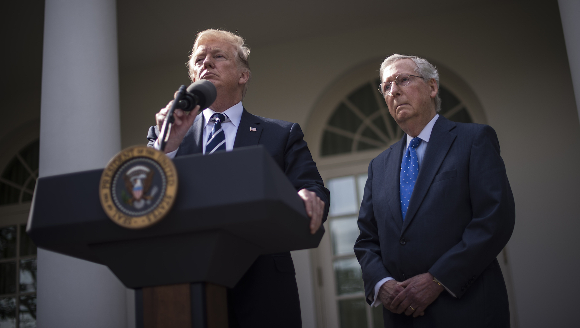Trump's dumbfounding, expansive press conference with Mitch McConnell, annotated