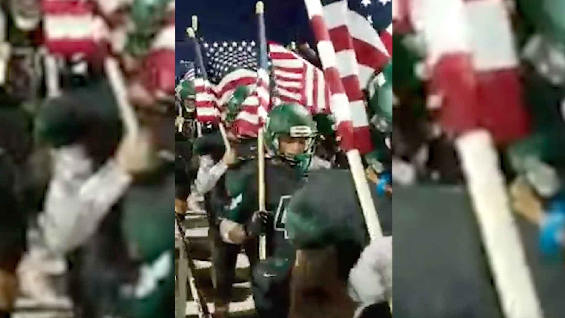 Watch This High School Football Team Take The Field With American Flags