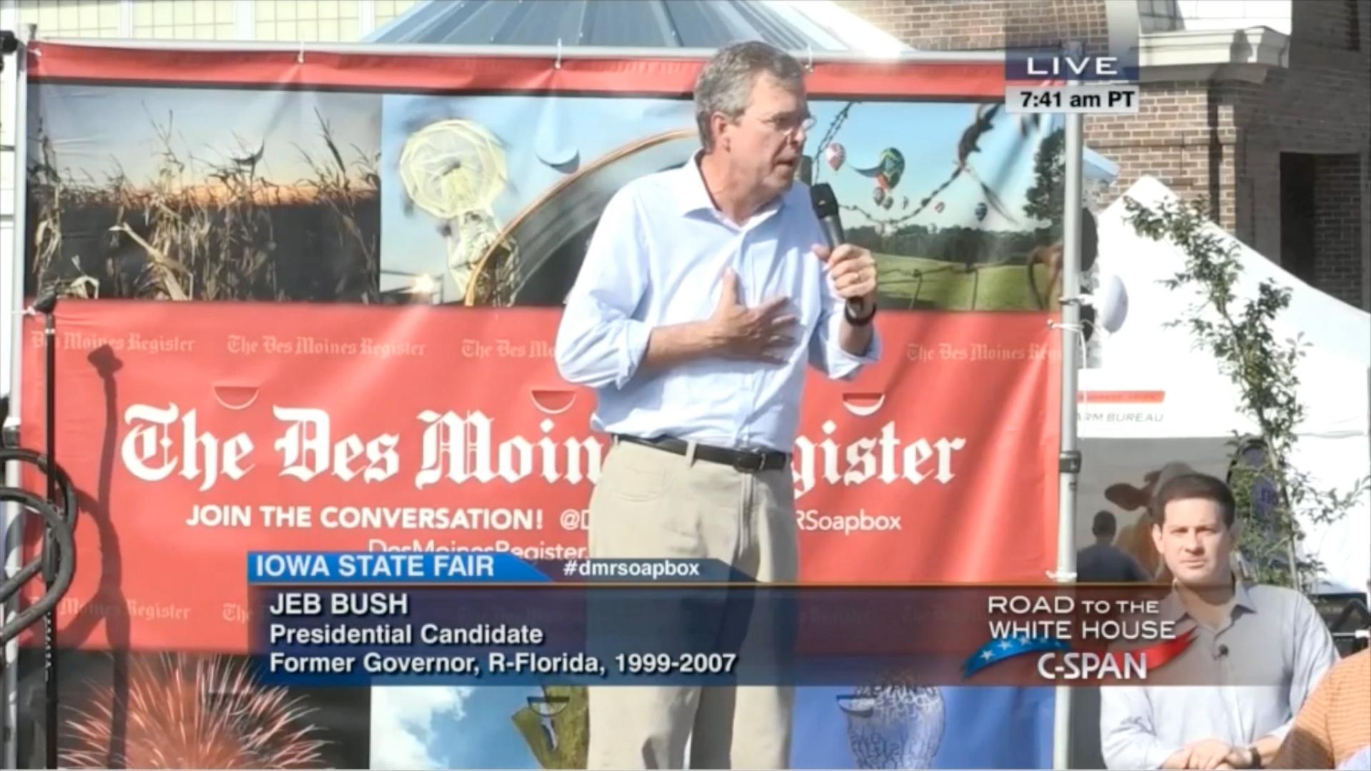 Family history hounds Jeb Bush on campaign trail