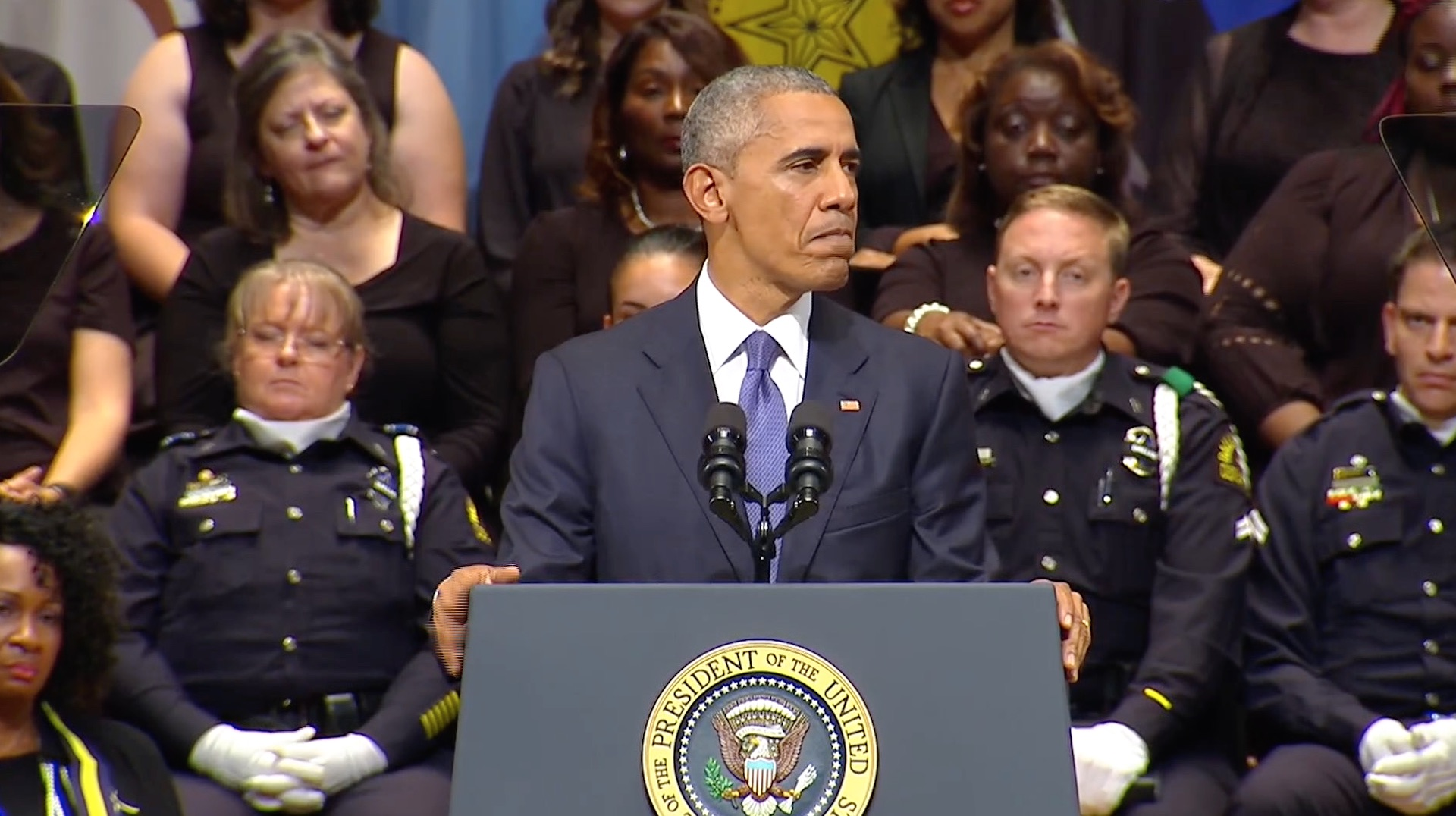 Obama speaks at Dallas memorial and says 'we ask police to do too much'